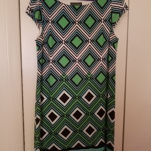 Blue and Green Mid Length Dress